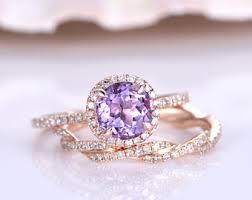amethyst engagement ring sets gold promise etsy