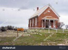 idaho house historic meeting house chesterfield idaho part stock photo