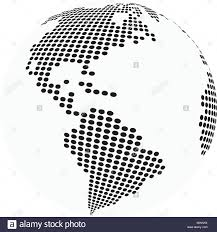 World Map Silhouette Globe Earth World Map Abstract Dotted Vector Background Black