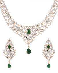 necklace with green stone images Buy exclusive gold tone necklace set green stone embellished jpg