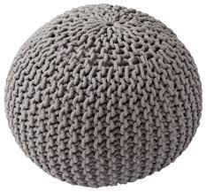 knit home decor gray floor pouf ottoman u2013 hand knit cotton yarn u2013 home décor buy