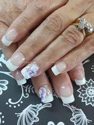 white french with 3d flower nail art nail art pinterest nail