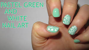pastel green and white nail art youtube