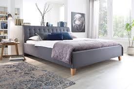 Schlafzimmerm El Disselkamp Meise Polsterbett Lucca In Grau Mit Eichenfarbigen Massivholzfüßen