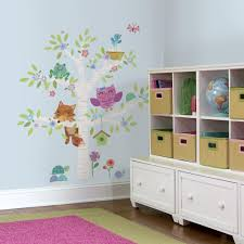 new giant woodland baby animals white birch tree wall decals categories