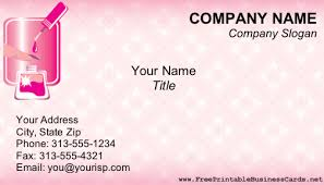Print Free Business Cards At Home Manicurist Business Card