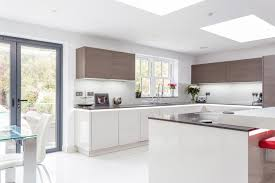 German Designer Kitchens by Handless German Nolte Glasstec Kitchen In Sahara And Contrasting