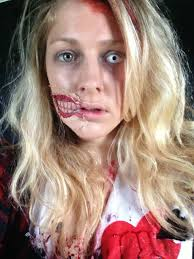 zombie make up for zombie evacuation done with toilet roll pva