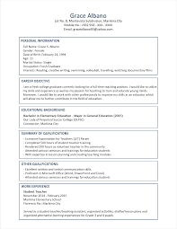 Sample Resume Teaching Position by Sample Resume Format For Fresh Graduates Two Page Format