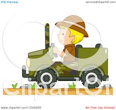 jeep vector clipart of a blond safari boy driving a jeep royalty free vector