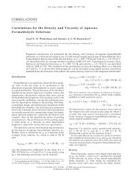 correlations for the density and viscosity of aqueous formaldehyde