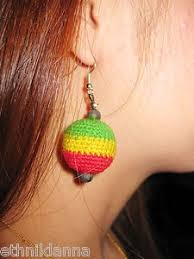reggae earrings rasta earrings handmade reggae crocheted balls jamaica thailand