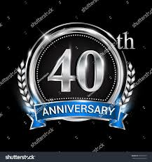 Silver Jubilee Card Invitation 40th Anniversary Logo Silver Ring Combination Stock Vector