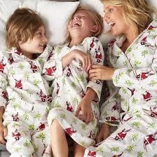 family pajamas skiing santa the company store