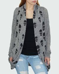 skull sweater draped shawl collar grey black skull cardigan