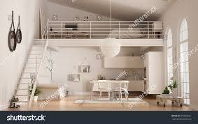 scandinavian minimalist loft oneroom apartment white stock