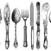 kitchen forks and knives 法國小熊 白底刀模貼紙 knives