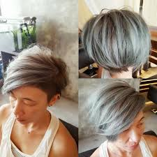 women u0027s textured side swept undercut pixie with fringe and silver