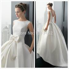 online shop free shipping dhl white low back bow ball gown wedding