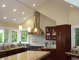 modern sloped ceiling recessed lights fixtures for small kitchen