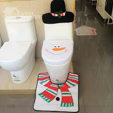 wonderful lovely snowman design 3 pieces toilet seat cover set
