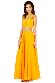 yellow gown aneesh aggarwal rent designer gown india
