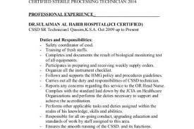 Sterile Processing Resume Sterile Processing Technician Resume Sterile Processing