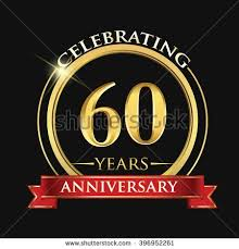 60 years anniversary celebrating 60 years anniversary logo with golden ring and