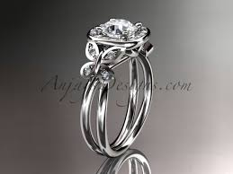 butterfly engagement ring 14kt white gold diamond unique butterfly engagement ring wedding ring