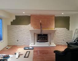 stone wall fireplace living room with fireplace big screen tv polyurestone