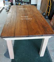 dining room diy farmhouse table with provincial stained top