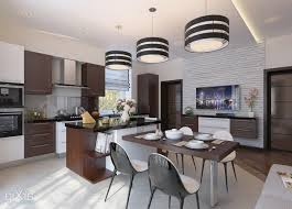 dining room contemporary kitchen design with glossy cabinetry