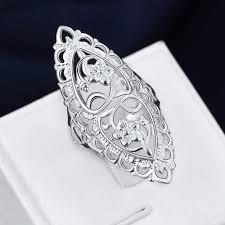 large ladies rings images Buy women 39 s large silver flower rings love for jpg
