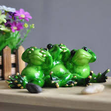 Frog Desk Accessories Novelty Frog Figurines Brothers Green Frog Resin Sculpture