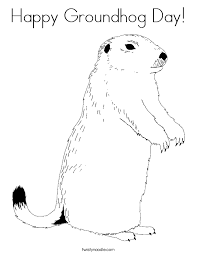 Happy Groundhog Day Coloring Page Twisty Noodle Groundhog Color Page