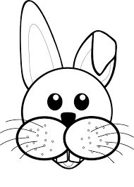 rabbit 1 face cartoon black white coloring sheet colouring