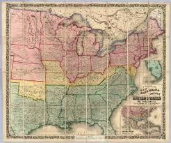 Civil War States Map Colton U0027s New Railroad U0026 County Map Of The United States David