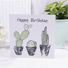 birthday card to print happy birthday cacti print birthday card by ltd
