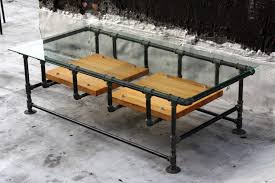 industrial iron pipe coffee table w glass top and reclaimed
