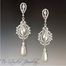 wedding earrings chandelier pearl bridal chandelier earrings rhinestone wedding