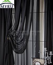 Black Sheer Curtains Myru New Arrival Solid Color Screens Custom Black Sheer Curtains