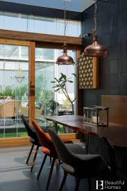 furniture modern dining room design with pendant lighting and