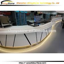 Gloss White Reception Desk Artistic Curved Modern Design Solid Surface Gloss White Reception