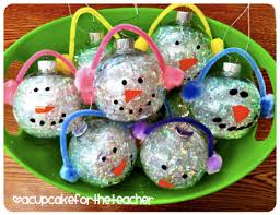 snowman ornaments a cupcake for the