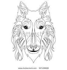 ethnic decorative doodle dog face vector stock vector 507496624