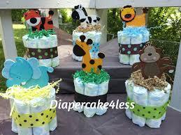6 jungle theme mini diaper cakes baby shower centerpiece