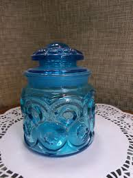 colonial blue le smith moon u0026 stars glass tea canister 5 1 2