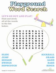 playground word search worksheet education com