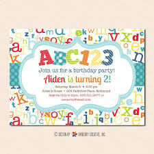 theme invitations abc123 alphabet theme birthday party invitation inkberry