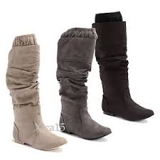 s boots knee high brown s boots flat almond toe ruched faux suede boots knee high